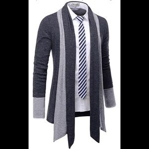 NEARKIN MEN's Navy Blue Open Cardigan Shawl